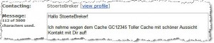 Bitte bei E-Mails immer GC-Code und Namen angeben.